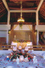 The resort's main hall decked out for a wedding