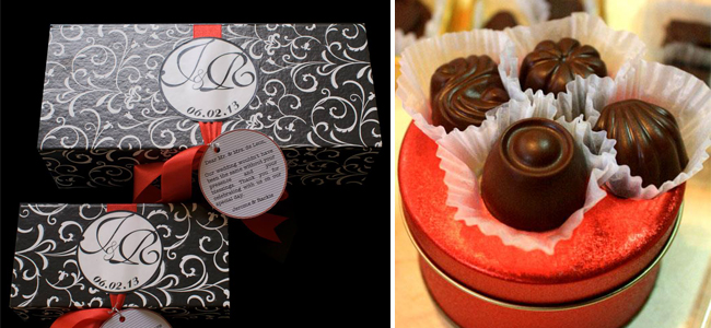 Chocolate Favors by Chocolate Confections (left) and Megabites Chocolate (right)
