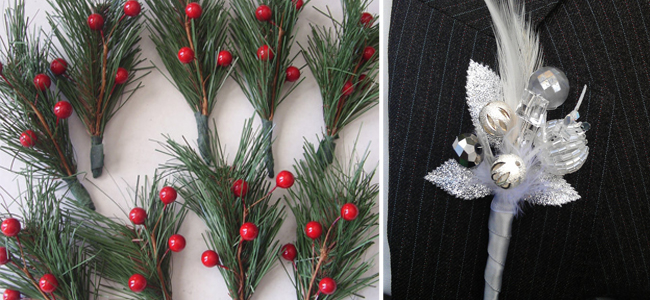 Christmas Boutonnieres from etsy.com