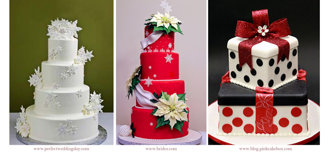 From left to right: Christmas Wedding Cakes by www.perfectweddingday.com, www.brides.com and www.blog.pinkcakebox.com