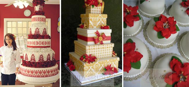 Christmas Wedding Cakes by Judy Uson