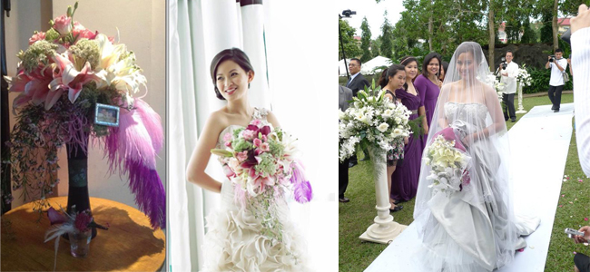Left: Amazing Touch Floral Design uses ostrich feather to put some color and fun to the formal Cascading Bouquet and Right: Bride carries a oval bouquet by Henry Pascual Events Stylists in ivory and off-white Left: Amazing Touch Floral Design uses ostrich feather to put some color and fun to the formal Cascading Bouquet and Right: Bride carries a oval bouquet by Henry Pascual Events Stylists in ivory and off-white
