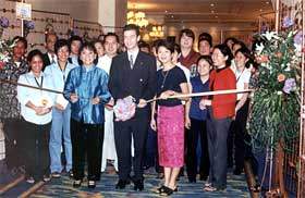 Edsa Shangri-La Manila's General Manager Jarlath Lynch  (middle) opened the fair with Chaela Canlas, Director of Catering Sales (left) and Milen Treichler, Director of Communications (right)