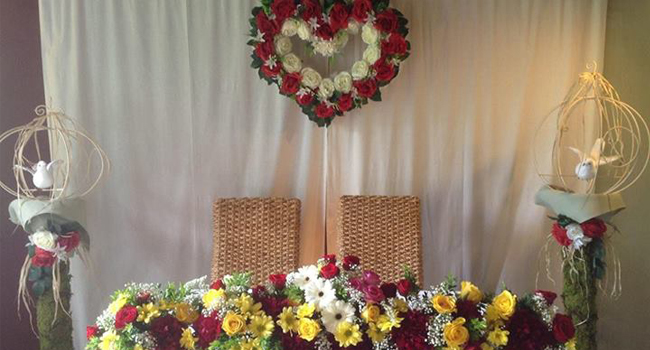 Wedding Set-up Flower Arrangement by Amazing Touch Floral Designs