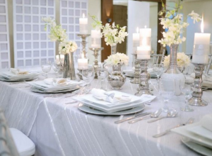 silver and white setup hizons catering
