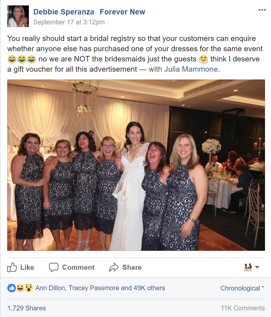 debbie speranza viral wedding post about identical dresses