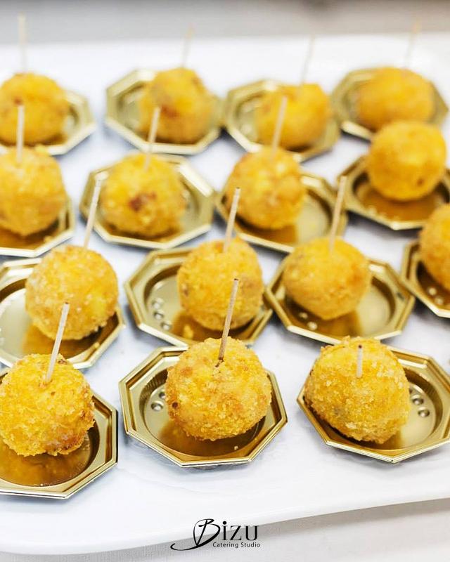 chorizo and cheese paella balls bizu catering studio