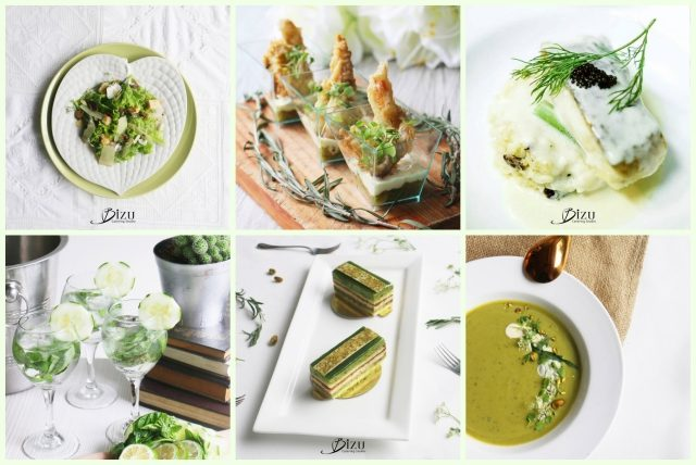 green themed party bizu catering studio