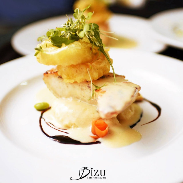 halibut with dill beurre blanc bizu catering studio
