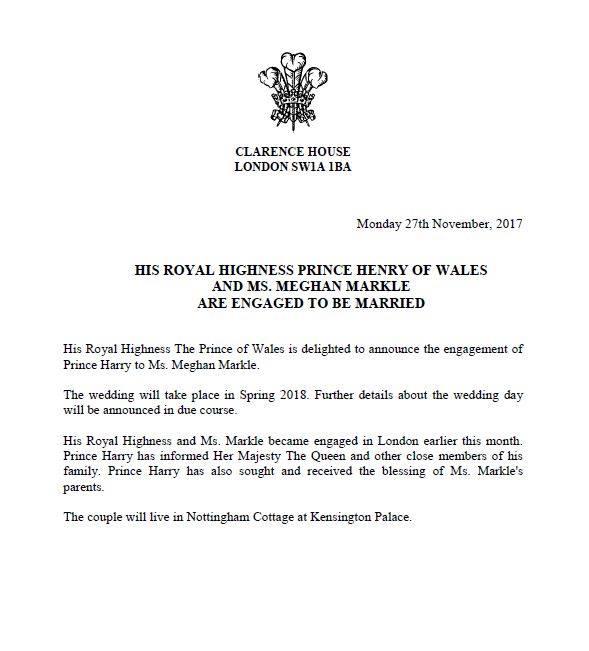 prince henry meghan markle engagement
