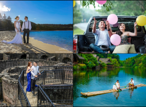 summer prenup shoot collage